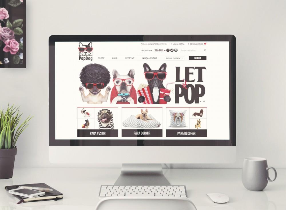 Criacao de layout na plataforma iluria para a loja virtual PopDog, design moderno