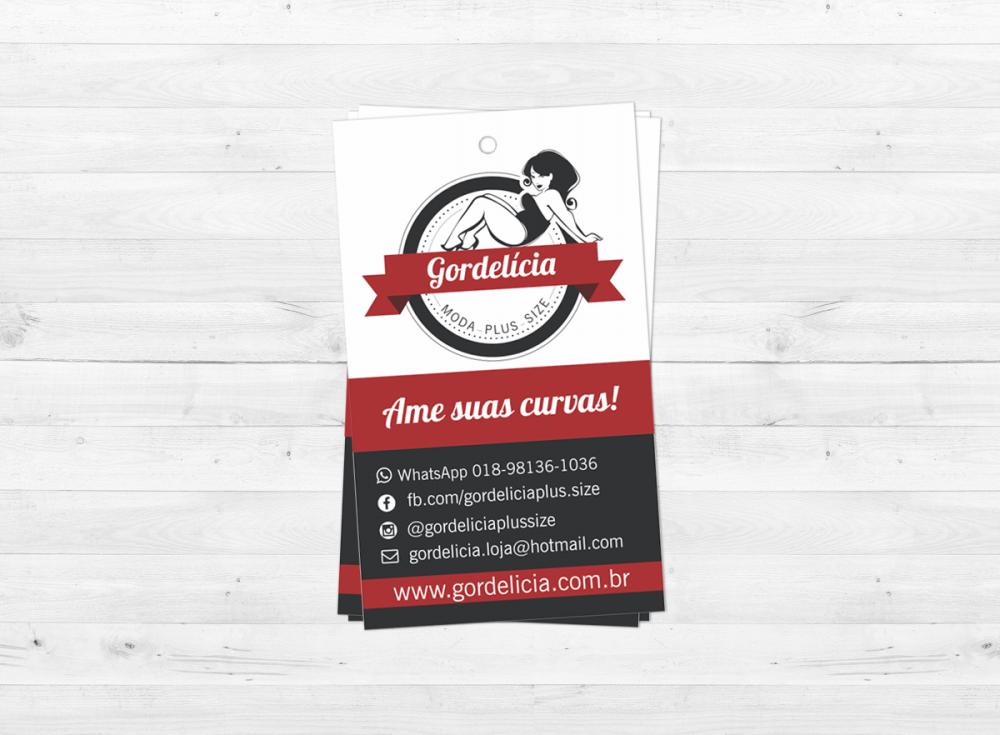 layout da tag desenvolvida para a loja gordelicia, logotipo e identidade