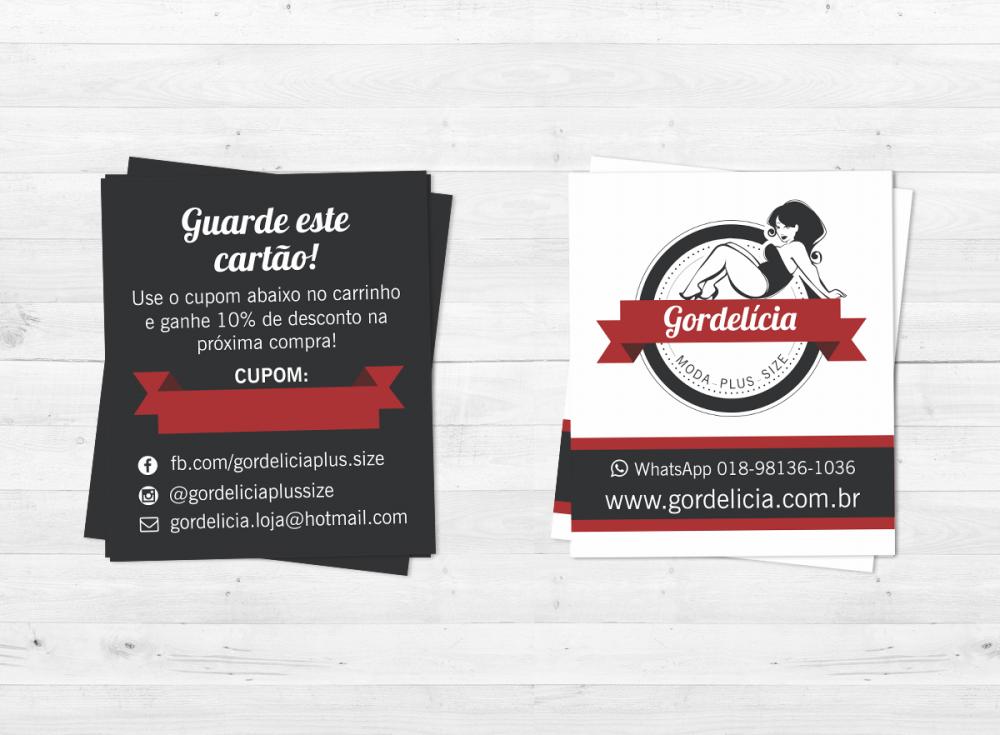 design de cartão de visita com logotipo para a loja gordelicia